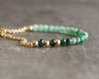 Ombre Emerald Bracelet - May Birthstone