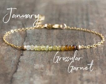 Grossular Garnet Bracelet, Ombre Jewelry, January Birthday Gifts for Her, Dainty Gemstone Bracelet, Stacking Bracelet, Gift for Friend