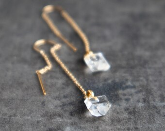 Herkimer Diamond Ear Threaders - April Birthstone
