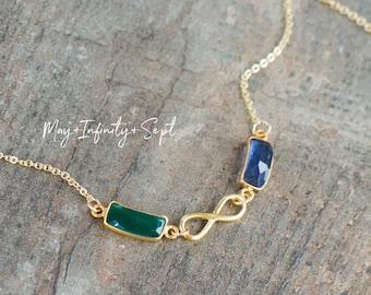 Together Forever Custom Birthstone Link Necklace, Infinity Necklace