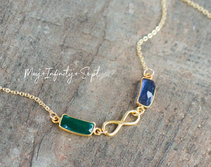 Featured listing image: Together Forever Custom Birthstone Link Necklace, Infinity Necklace