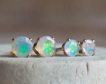 Ethiopian Welo Opal Stud Earrings - October Birthstone