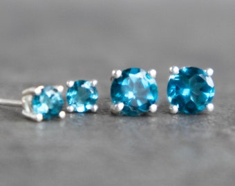 London Blue Topaz Silver Stud Earrings - November & December Birthstone