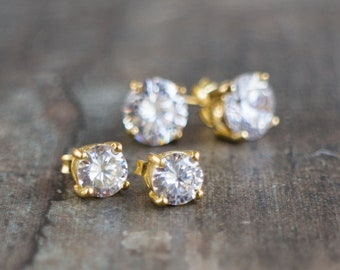 Sparkly Solitaire Stud Earrings