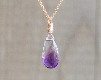 Bi Colour Moss Amethyst Necklace - February Birthstone
