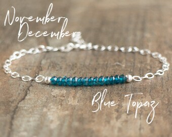 Blue Topaz Bracelet - November, December Birthstone