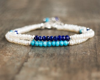 Pearl Bracelet with Garnet, Turquoise, Ruby or Lapis Lazuli