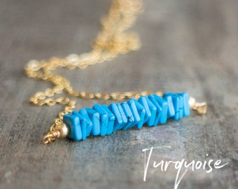 Turquoise Necklace, Boho Necklace, Gift for Girlfriend, Summer Necklace, December Birthstone, Bohemian Jewelry, Blue Necklace, Bar Necklace