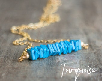 Square Bar Necklace - Turquoise - December Birthstone