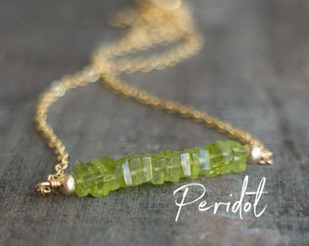 Square Bar Necklace - Peridot - August Birthstone