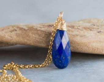 Lapis Lazuli Teardrop Necklace - September Birthstone