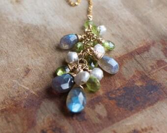 Gemstone Cluster Y Necklace in Gold Filled - June&August Birthstone