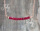 Ruby Necklace, July Birthday Gift for Her, Gemstone Necklace, July Birthstone Necklace, Gift for Wife, Ruby Jewelry, Delicate Bar Necklace