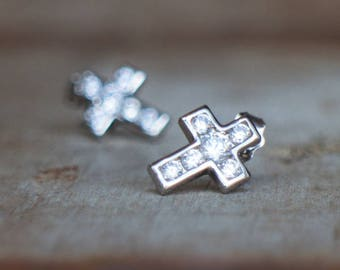 Sterling Silver CZ Diamond Cross Stud Earrings