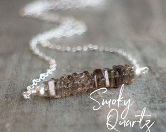 Smoky Quartz Necklace, Bridesmaid Gifts, Smokey Quartz Jewelry, Gemstone Jewelry, Bar Necklace, Crystal Necklace, Girlfriend Gift for Her