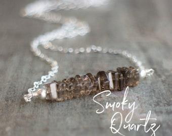 Square Bar Necklace - Smoky Quartz
