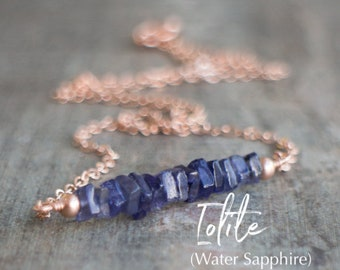 Square Bar Necklace - Iolite (Water Sapphire)