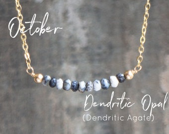 Dendritic Opal Necklace, Dendritic Agate Jewelry, Gemstone Bar Necklace, October Birthday Gifts