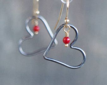 Mixed Metal Heart Earrings