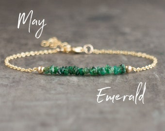Raw Emerald Bracelet- May Birthstone