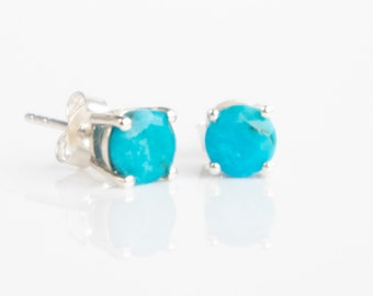 Genuine Turquoise Silver Stud Earrings - December Birthstone
