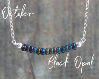 Black Opal Bar Necklace
