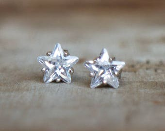 Sterling Silver Star Earrings with CZ Diamond