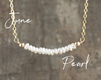 Dainty Freshwater Pearl Bar Necklace, Bridesmaids Gifts for Her, June Birthstone Jewelry