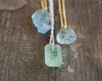 Raw Aquamarine Necklace - March Birthstone