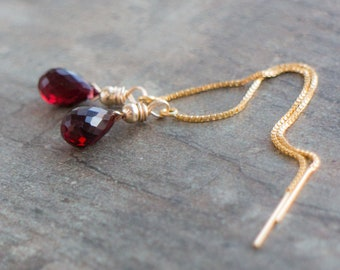 Garnet Threader Earrings - January Birthstone