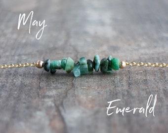 Raw Emerald Necklace - May Birthstone