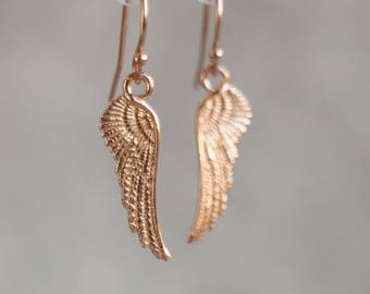 Rose Gold Angel Wings Earrings