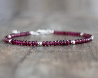 Rhodolite Garnet Bracelet - January Birthstone Bracelet