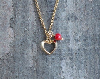 Gold Heart with Red Coral Necklace
