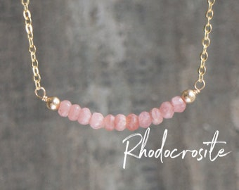 Rhodocrosite Bar Necklace