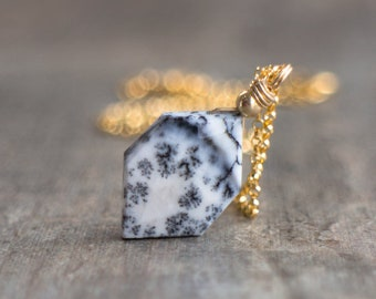 Dendritic Opal Necklace (Merlinite) -  October Birthstone
