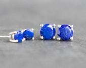 Lapis Lazuli Stud Earrings, Sterling Silver Jewellery, Blue Lapis Ear Studs, September Birthstone Gift for Her