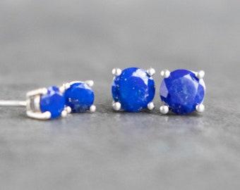 Silver Lapis Lazuli Stud Earrings - September Birthstone