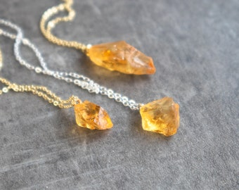 Raw Citrine Necklace - November Birthstone