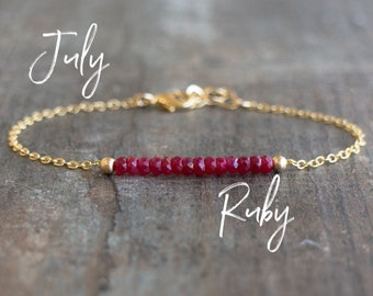 Ruby Bracelet - July Birthstone