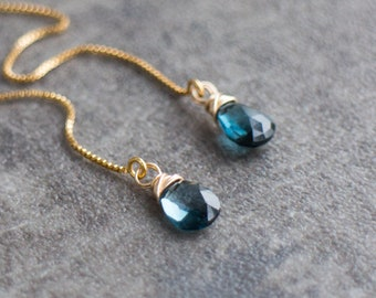 London Blue Topaz Threader Earrings - November&December Birthstone