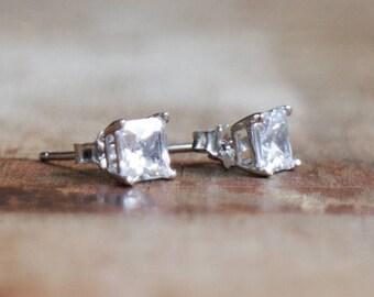 CZ Diamond Square Stud Earrings