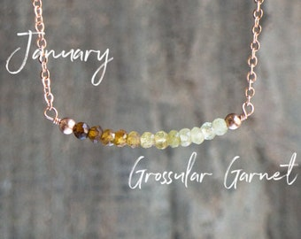 Grossular Garnet Ombre Bar Necklace
