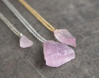Raw Kunzite Necklace