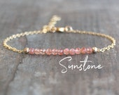 Sunstone Bracelet, Dainty Crystal Bracelet, Good Luck Crystal Jewelry, Bridesmaid Gifts for Her, Gemstone Beaded Bracelet, Bohemian Jewelry