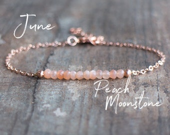 Peach Moonstone Bracelet - June Birthstone