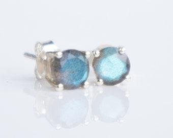 Labradorite Stud Earrings, Gift for Women, Blue Labradorite Sterling Silver Ear Studs, Minimalist Earrings Studs, Jewelry Gift for Her