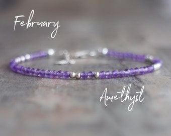 Purple Amethyst Stacking Bracelet - February Birthstone