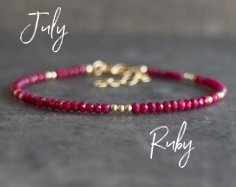 Dainty Ruby Bracelet - July Birthstone