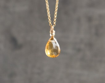 Citrine Pendant Necklace - November Birthstone